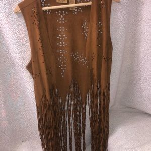 A leather wranglers long frilly vest